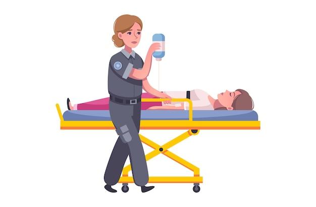Ambulance illustratie met stripfiguren van paramedicus en gewonde persoon