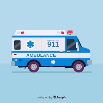 Ambulance in vlakke stijl