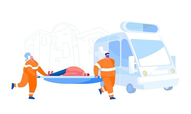 Ambulance medisch personeel dienst beroep concept. medici vervoeren gewonde patiënt naar ziekenhuis. emergency paramedic doctor characters en car, health care. cartoon mensen