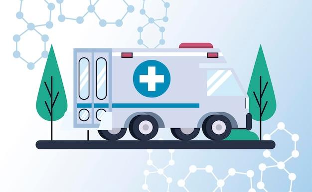 Ambulance noodsituatievoertuig in de illustratie van de wegscène