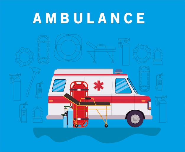 Ambulance paramedicus auto zijaanzicht zuurstofcilinders en brancardontwerp