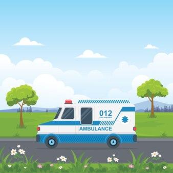 Ambulance stak de weg over met een prachtig landelijk landschap