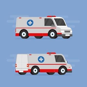 Ambulance van auto voor een vlakke afbeelding van de medische hulpdienst