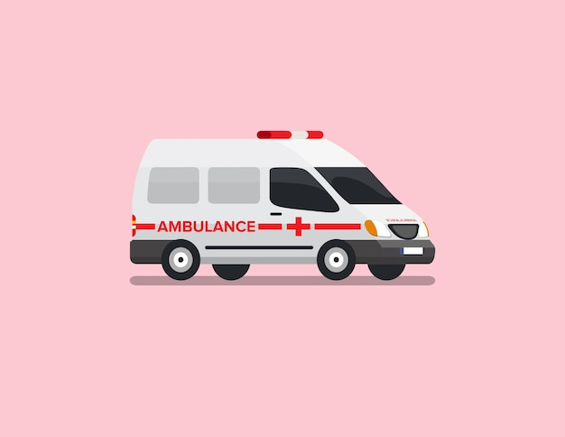 Ambulance van flat vector