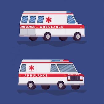 Ambulances paramedicus auto's zijaanzicht ontwerp