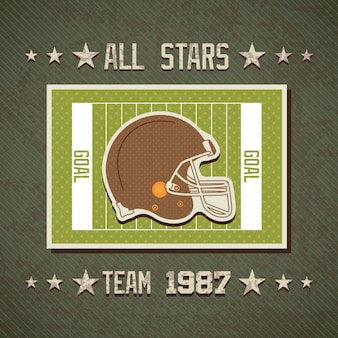 American football alle sterren team op veld met helm vector achtergrond