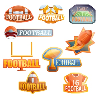 American football-apparatuur logo set, cartoon stijl