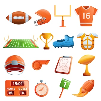 American football-apparatuur set, cartoon stijl
