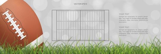American football bal op groen grasveld met licht wazig bokeh achtergrond. vector illustratie.