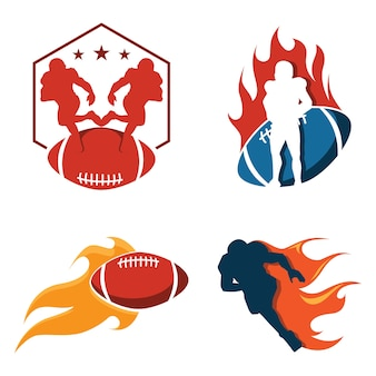 American football on fire logo collection
