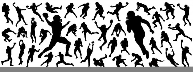 American football players silhouettes