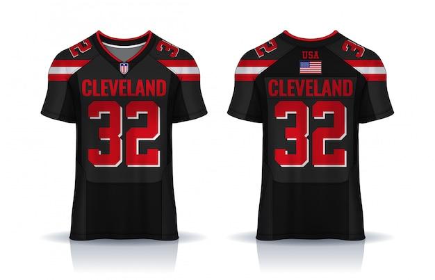 American football-shirt, t-shirt sport sjabloon. uniform voor- en achteraanzicht.