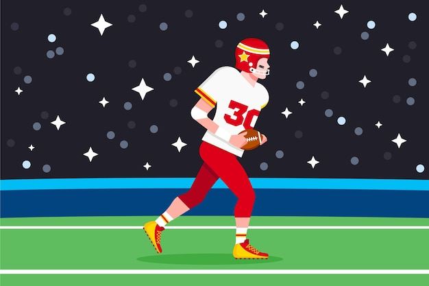 American football-speler geïllustreerd