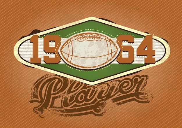 American football-speler insignes 1964 retro kleuren vectorillustratie
