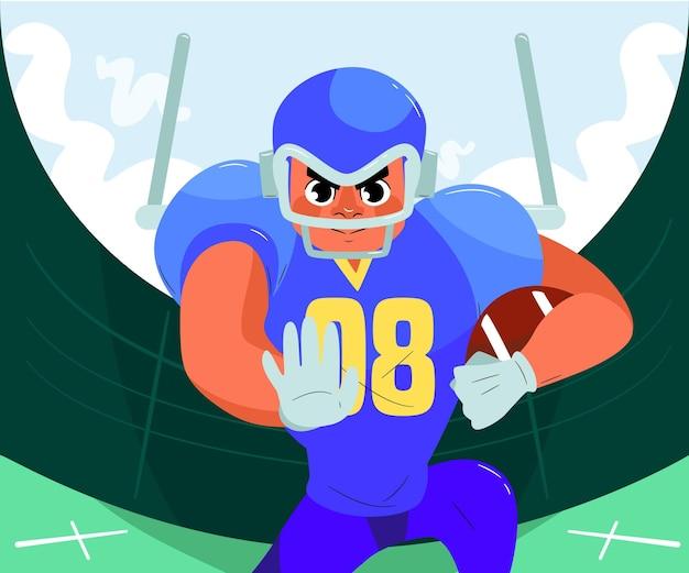 American football-speler met de bal