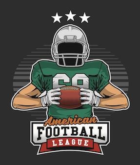 American football-speler met een bal