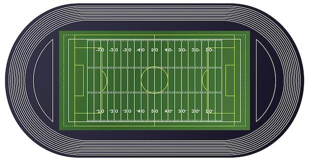 American football veld bovenaanzicht. vectorillustratie.