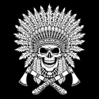 American indian chief skull met gekruiste tomahawks