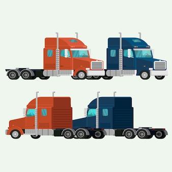 American trucks containervervoer verzending lading. illustratie vector