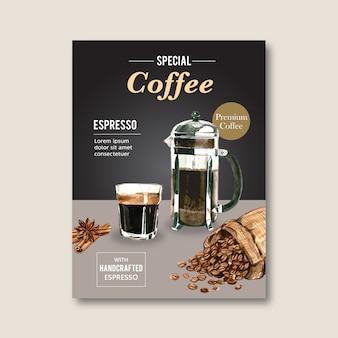 Americano, cappuccino koffie poster korting, moderne sjabloon, aquarel illustratie