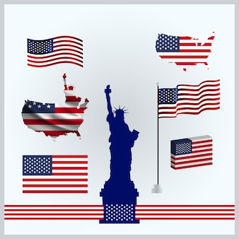 Americas flags set