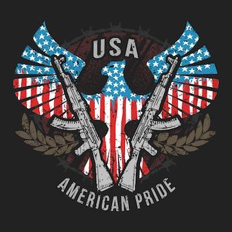 Amerika eagle de vlag van de vs en machinegeweer