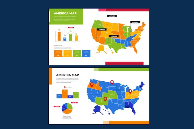 Amerika kaart infographic in plat ontwerp