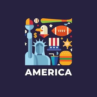 Amerika reizen land logo sjabloon