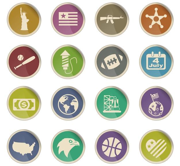 Amerika webpictogrammen in de vorm van ronde papieren etiketten