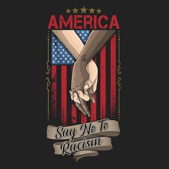 Amerika zegt nee tegen de racismecampagne