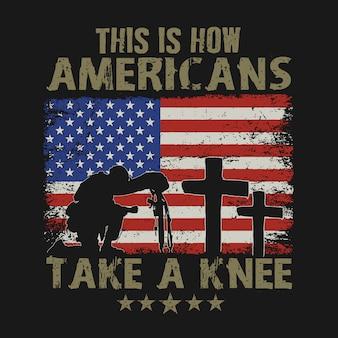 Amerikaan neemt een knie veteraan dag illustratie vector