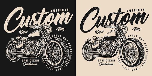 Amerikaans aangepast motorlabel met inscripties en motor in vintage zwart-wit stijl