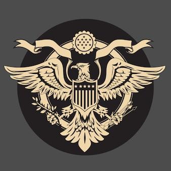 Amerikaans adelaarsembleem met de vlaggen van de vs en schildwijnoogst