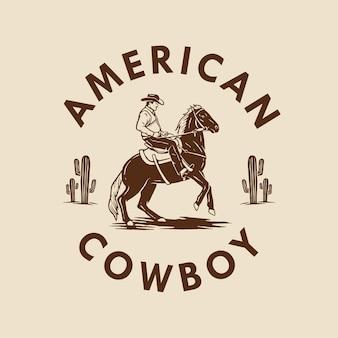 Amerikaans cowboy handgetekend ontwerp