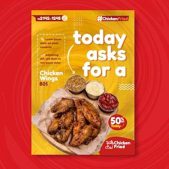 Amerikaans eten flyer ontwerpsjabloon met gebakken kip