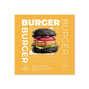 Amerikaans eten flyer-sjabloon met hamburgerfoto