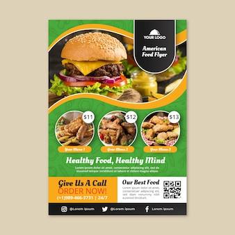 Amerikaans eten flyer-sjabloon Premium Vector