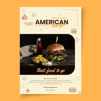 Amerikaans eten pub poster sjabloon