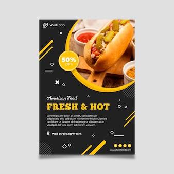 Amerikaans eten restaurant poster sjabloon