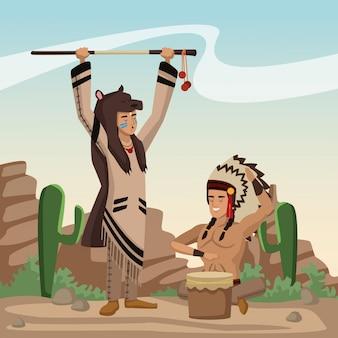 Amerikaans indisch beeldverhaal in woestijn