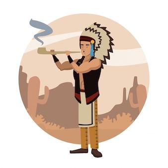 Amerikaans-indische cartoon in ronde pictogram