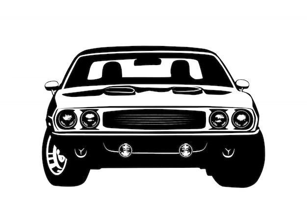 Amerikaans muscle car legend silhouet