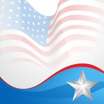 Amerikaans onafhankelijkheidsdag vector vlag in golf stijl