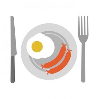 Amerikaans ontbijt op gerecht