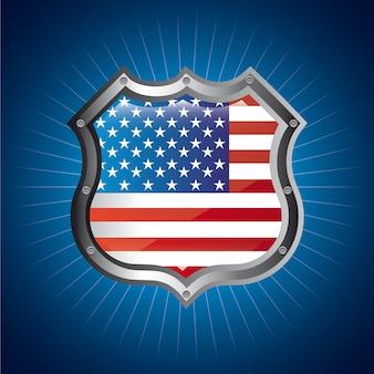 Amerikaans schild over blauwe vectorillustratie als achtergrond