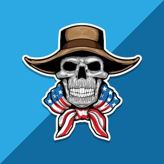 Amerikaans skelet met cowboyhoed en amerikaanse vlag op schouders.