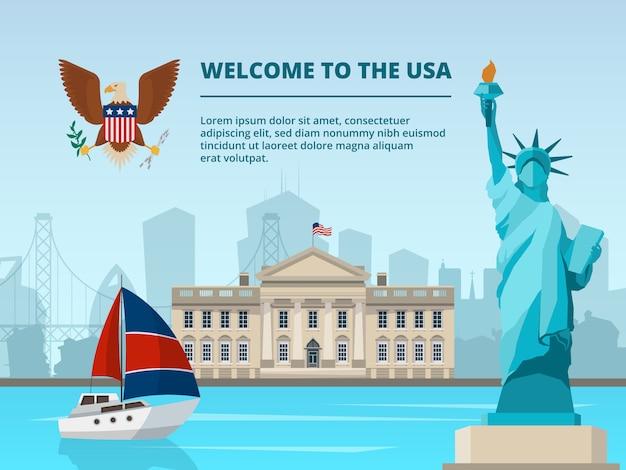 Amerikaans stedelijk landschap met historische architecturale symbolen en oriëntatiepunten