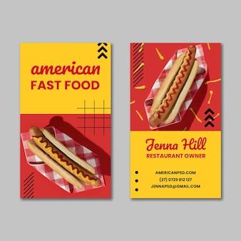 Amerikaans voedsel dubbelzijdig visitekaartje