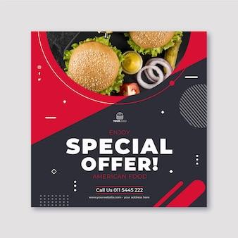 Amerikaans voedsel verticale vierkante sjabloon