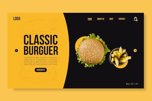 Amerikaans voedselwebsjabloon met foto van de hamburger